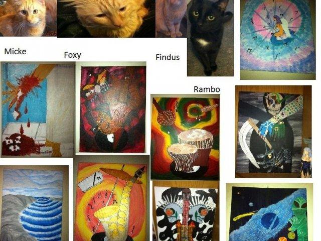 Säljer 4 katthanar o lite konst
