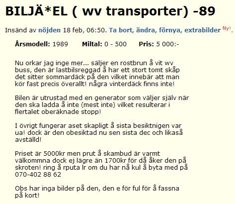 BILJÄ*EL ( wv transporter) -89