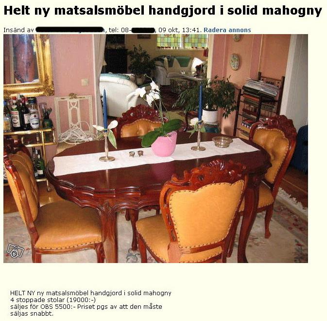 Helt ny matsalsmöbel.. (spegel!)
