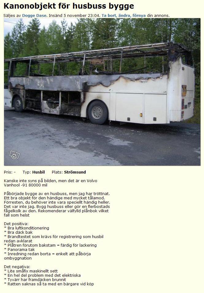 Kanonobjekt för husbuss bygge