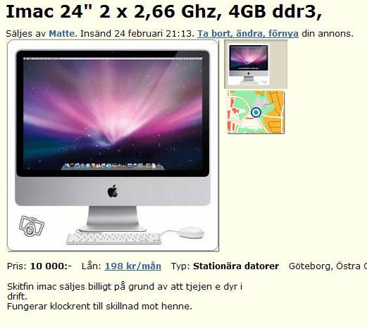 """Imac 24"""" 2 x 2,66Ghz, 4GB ddr3"""